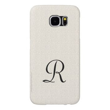 Faux Off White Burlap Rustic with Black Monogram Samsung Galaxy S6 Case