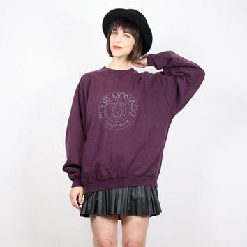 Vintage 90s Sweatshirt Plum Burgundy Purple Pullover CLUB MONACO Logo Sweatshirt Cotton Pullover 1990s Preppy T Shirt Top M Medium L Large