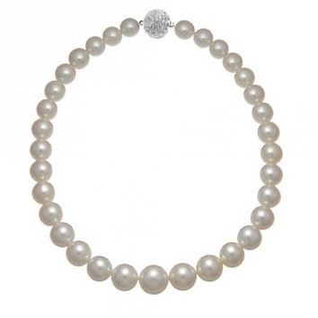 White Shell Strand Necklace Silver Plated Crystal Ball Imitation l