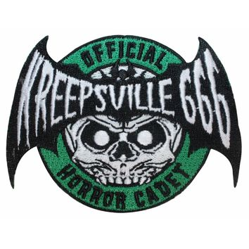 """Official Horror Cadet"" Skull Bat Kreepsville Embroidered Iron On Applique Patch"