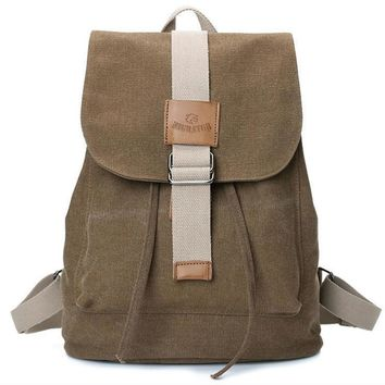 Fashionable draw string canvas backpack Coffee