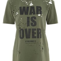 War is Over Nibbled T-Shirt by And Finally | Topshop