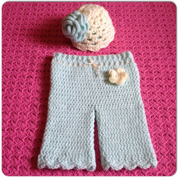 Baby Girl Infant Hat Pants Clothing Set MORE COLORS, Sizes (3-6 mo. pants shown w- Newborn Hat) Spring Fashion, Clothes