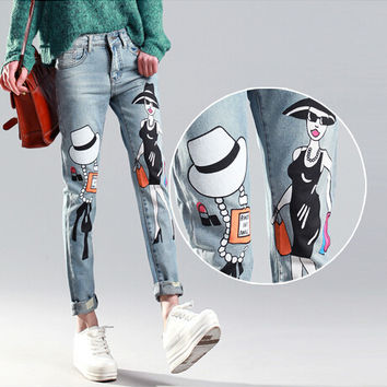 Fashion skinny jeans women painted jeans pants sexy women denim trousers ladies pencil jeans mulher calcas jeans femininos