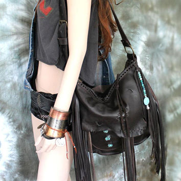 Chocolate dark brown leather fringed hobo turquoises bag fringe artistan purse bohemian african jungle raw leather festival free people