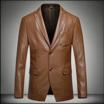 HOT 2016 autumn and winter New Men's clothing casual leather jacket single suit Slim small leather business blazer tide costumes