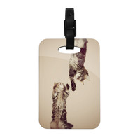 "Monika Strigel ""Upside Down"" Brown Cats Decorative Luggage Tag"