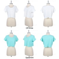 Short Sleeve Loose Fit Cropped Top Round Neck Cute Solid Cotton Stretch S M L