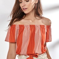 LA Hearts Tie Front Off-The-Shoulder Top at PacSun.com