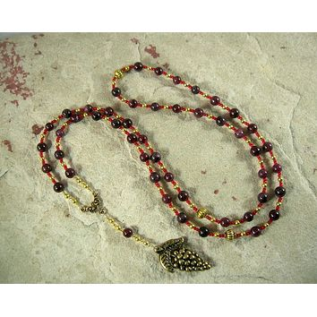 Dionysos Prayer Bead Necklace in Garnet: Greek God of the Grape, Theater, the Mysteries