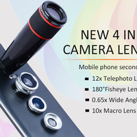 4 in 1 universal clip camera Lens Kit 12X Telephoto Lens+ Wide Angle & Macro+ Fisheye Lens for iPhone 6 Plus 6s Samsung Note4 5