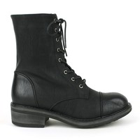 Mark and Maddux Wii-02 Lace-up Combat Boots in Black @ ippolitan.com