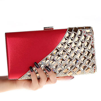 Punk Light Golden Frame Diamond Evening bags, High Quality Wedding Bags Women Handbag Rhinestone Day Clutches 10 Color 12025