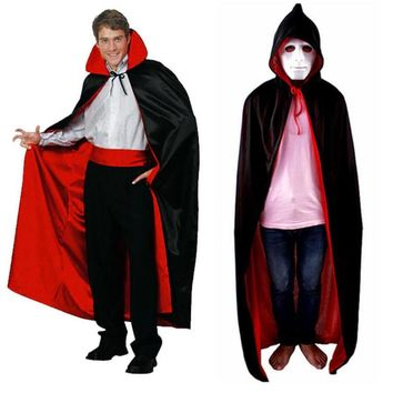 2018 Halloween cosplay vampire cloak collar hat black and red double cloak witch cloak  for adult and kids