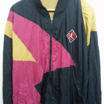 Vintage 1990s NIKE Jordan Embroidered Neon Colourfull Bomber Hip Hops Jacket