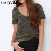 HAOYIHUI 2016 Brand New Women Tees Summer Slim Short Sleeves Camo Printed Loose Army Green V Neck Camber Bottom Vogue Lady Tops