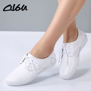 O16U Summer women Espadrilles ballet flats shoes Leather Lace-up soft comfortable ladi