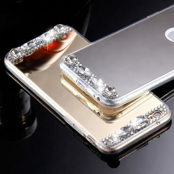 For iPhone 6 6s - Thin Rubber TPU Silicone Mirror Rhinestones Phone Case Cover