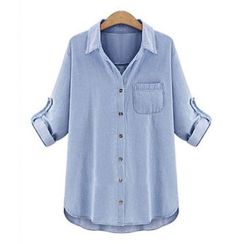 camisa jeans feminino blusas 2016 blouse femme plus size women blouses blue denim shirt woman long sleeve blouse women's tops