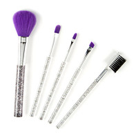 Clear and Hologram Glitter Makeup Brush Set of 5