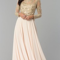 Embellished Waist Long-Sleeved Prom Dress