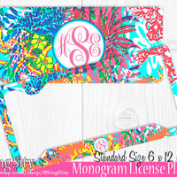 Vibrant Monogram License Plate Frame Holder Cover Metal Sign Car Tags Personalized Custom Vanity Hot Pink Aqua Teal Lilly Inspired