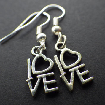 LOVE- Heart- Romance- Romantic- Date Night Gift Idea- Tibetan Silver Love Charms- Sterling Silver Plated French Hooks- Dangle Drop Earrings