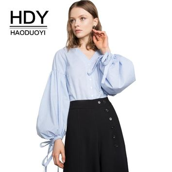 Women Blue Striped V Neck Balloon Sleeve Tie Top College Style Button Front Shirt Ruched Loose Sweet Blouse