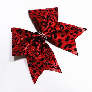 Cheer bow, Red cheer bow, leopard cheer bow, cheetah cheer bow, cheerleader bow, cheerleading bow, cheer bows, softball bow, dance bows, bow
