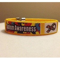 Fabric Autism and Asperger Awareness Bangle Bracelet
