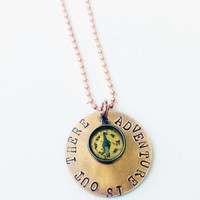 """Adventure is Out There - Hand Stamped Copper Necklace - Movie Quote """"Up"""""""
