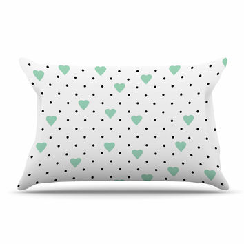 "Project M ""Pin Point Polka Dot Mint"" Green White Pillow Case"