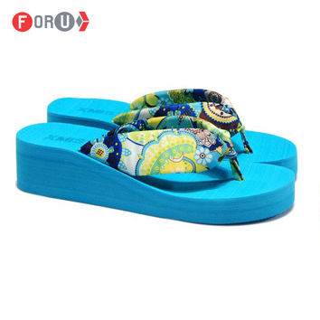 Summer bohemia flower flip flops platform wedges women sandals platform flip slippers beach shoes