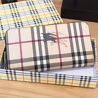 Burberry Fashion New Plaid War Horse Leather Women Men Wallet Purse Handbag