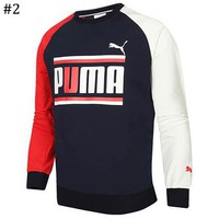 PUMA 2018 autumn new loose contrast color stitching round neck pullover sweater #2