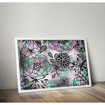 Black And White Floral Wall Tapestry Flowers Grunge Design Gray Art Print Poster Design no frame 20x30 Large