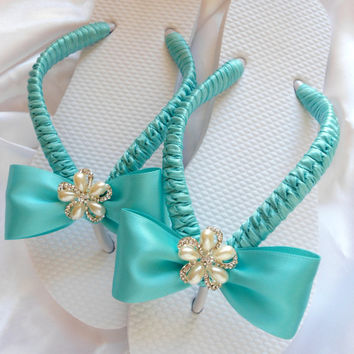 Blue wedding shoes, Bridal flip flops, Beach wedding flip flops, Wedding sandals, Flip flop wedding, Bridal shoes, Fancy flip flops flat