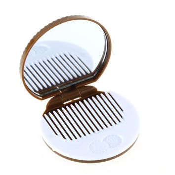 Promotion 1pcs New arrival ght Brown Cute Cookie  Design Mirror Makeup Chocolate Comb Travel pockets Foldable makeup mirror
