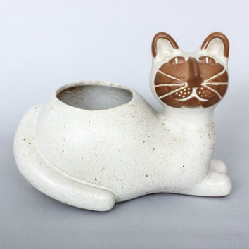 Large David Stewart Lions Valley 11 inch Cat Planter with Sticker