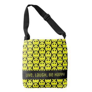 Happy Smiling Faces Smiley Yellow Black Be Happy Crossbody Bag