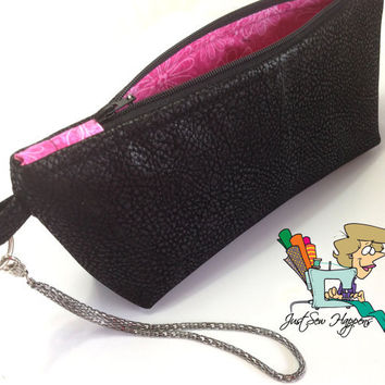 Wristlet Black Vegan Leather wiith Hot Pink Print Lining, Makeup Bag, Zippered Bag fully lined