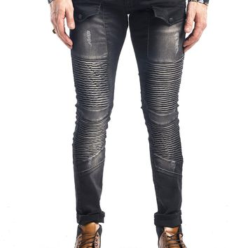 FLAP POCKET ZIPPER SKINNY MOTO JEANS - GREY BLACK