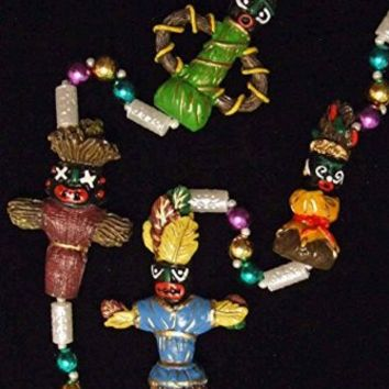 Voodoo Doll Mardi Gras Bead Necklace Mojo Magic Spells Luck Revenge Beads