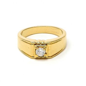 Gold Layered Mens Ring, Solitaire Design, with Cubic Zirconia, Golden Tone