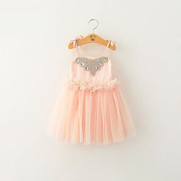 "The ""Natalie"" Light Pink Rhinestone Dress"