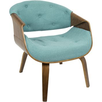 Curvo Mid-Century Modern Accent Chair, Walnut & Teal Fabric