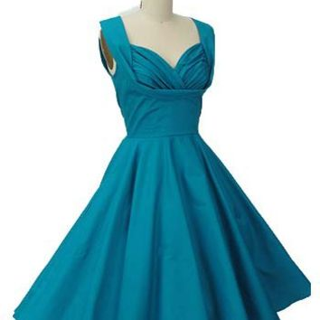 Blue Velvet Vintage - Retro Clothing - Trashy Diva Clothing - 50s Inspired Teal Blue Swing Dress
