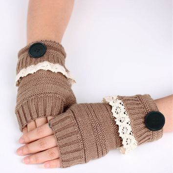 BONJEAN Winter Knitted Warm Fingerless Gloves Women Lace Button Wrist Soft Mittens 7 Colors Christmas Gifts Mitaine Femme