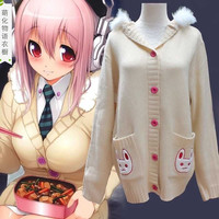 Japanese kawaii cos rabbit ear hooded sweater coat