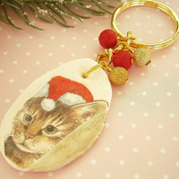 Holiday Cat Keychain - Polymer Clay Keyring - Fimo Charms - Gift for Cat lovers - Christmas Keychain - X-mas Gifts - Tabby Cat Key chain